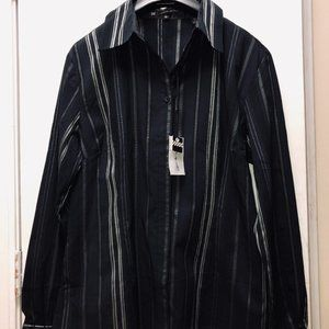 Mens brand NEW black and Silver dress shirt. Large